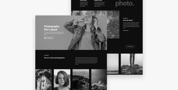 Photography Divi Layout on Divi Cake
