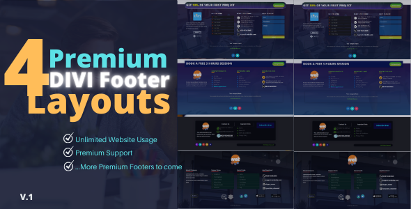 4 Premium Divi Footers Layouts Pack on Divi Cake
