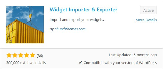 Widget importer and exporter plugin